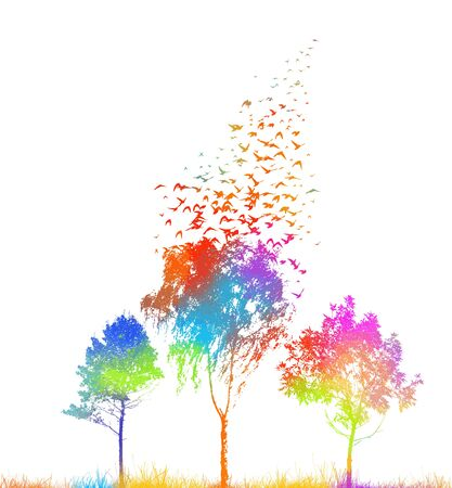Silhouettes of trees with flying birds. Vector Banque d'images - 144174072