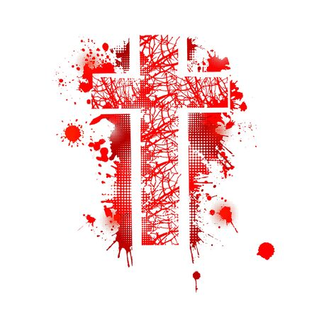 Cross from blood stains. Happy Easter. Vector illustration Illustration