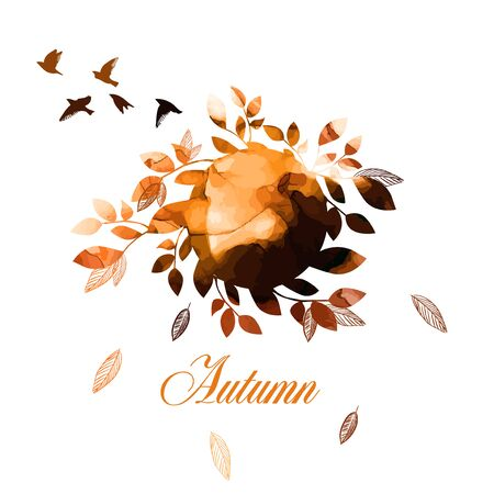 Round abstraction watercolor autumn. Vector
