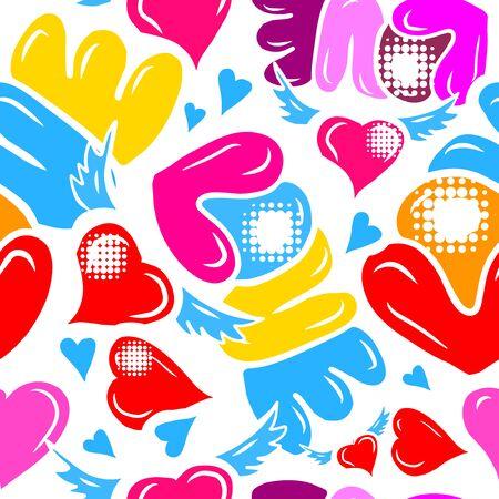 A seamless background of love. Graffiti. Vector illustration