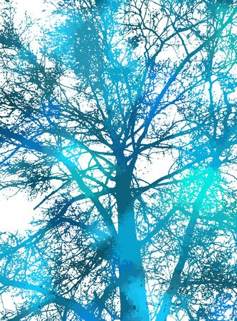 The silhouette of the landscape of nature. Colorful trees. Mixed media. Vector illustration