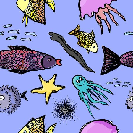 Fish has a seamless background. Vector illustration