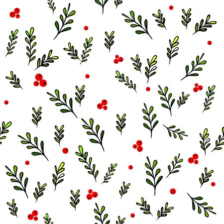 A seamless background of twigs with red berries. The cranberry pattern. Vector illustration