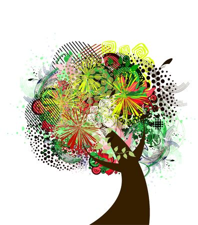 Abstract flower tree with butterflies and birds. Vector illustration