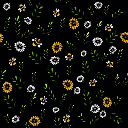 A seamless background of twigs and bees. Vector illustration