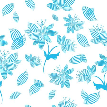 The seamless background is monochrome flowers from the lines. Vector illustration
