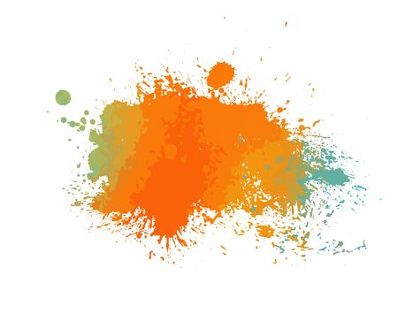 Multi-colored spots of paint on a white background. Grunge frame of paint. Vector illustration. Ilustración de vector