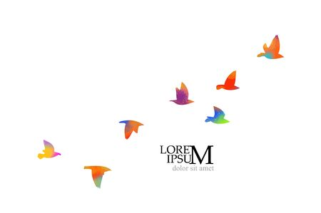Multi-colored birds. A flock of flying rainbow birds. A lot of soaring birds. Vector illustration