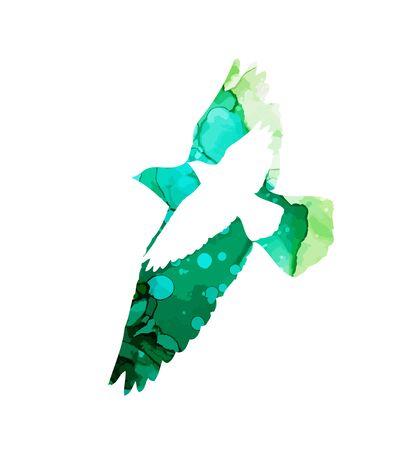 Bird abstract watercolor silhouette. Vector