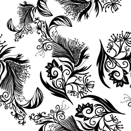 Bird feathers seamless pattern. Vector illustration