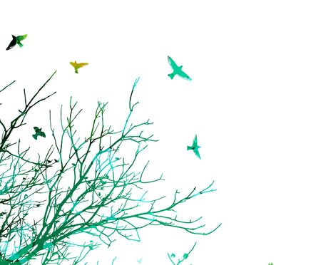 The silhouette of a tree with flying birds. Vector illustration
