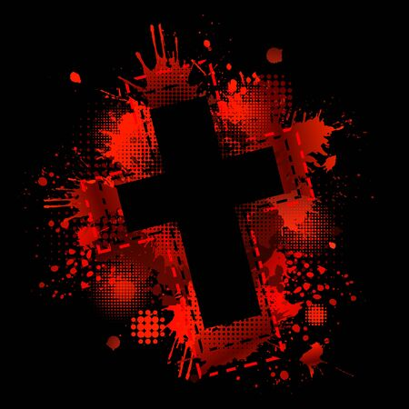 Cross from blood stains. Happy Easter. Vector illustration Stock Illustratie