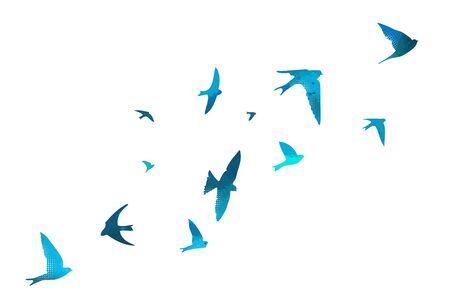 Blue swallows. Flying flock of birds. Vector illustration