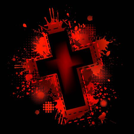 Cross from blood stains. Happy Easter. Vector illustration Archivio Fotografico - 148683337