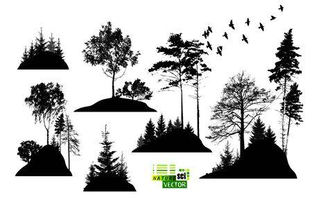 A set of silhouettes of trees. Vector illustration Vektorové ilustrace