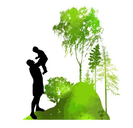 Happy Father's Day. Dad's holding the baby in his arms. In nature. Vector illustration