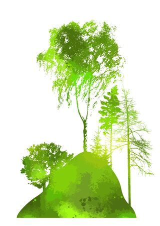 A set of silhouettes of trees. Vector illustration 向量圖像