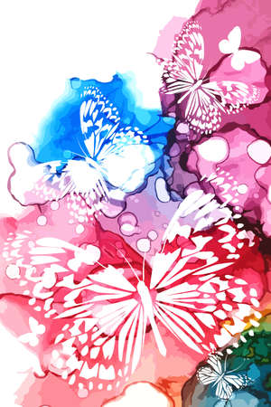 White butterflies on a watercolor multicolored background. Vector illustration