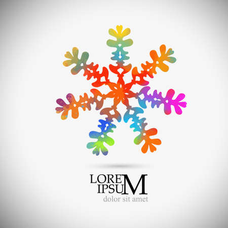 A multi-colored abstraction of a snowflake. Vector illustration