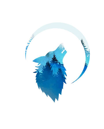 The wolf symbol howling on the moon. Vector illustration