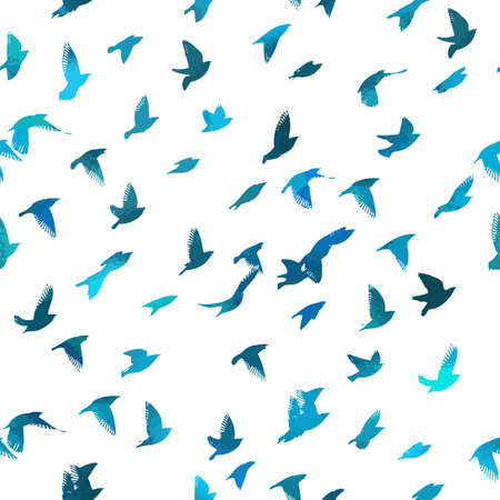 Bird watercolor. A flock of colorful birds. Seamless background. Mixed media. Vector illustration