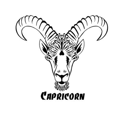 Capricorn is the sign of the zodiac. The goats head. T-shirt print. Mixed media. Vector illustration