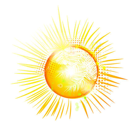 Symbol bright yellow sun in a glossy style. Vector Illustration.