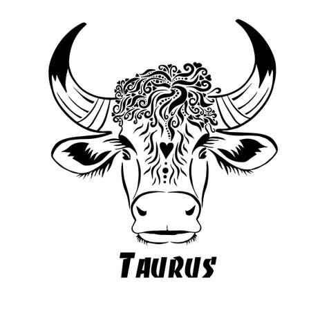 Taurus sign of the zodiac. The head of a bull. T-shirt print. Vector illustration Vetores