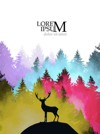 A deer on a hill in the multi-colored forest. Vector illustration