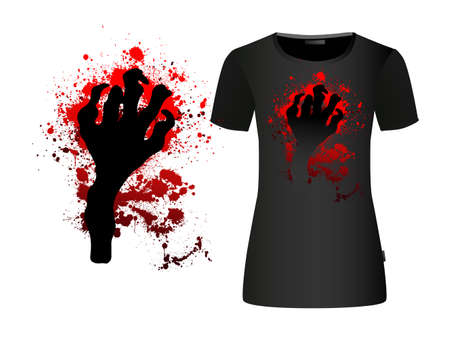The hand of the monster. Blood stains. Vector illustration