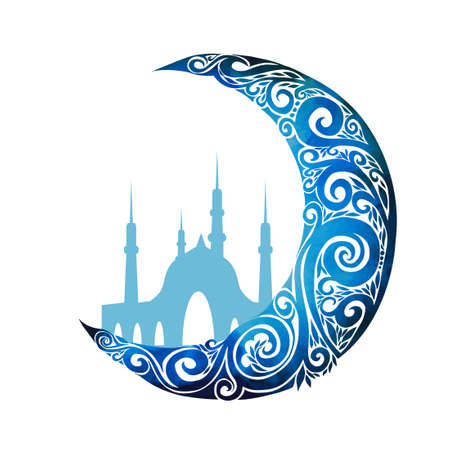 Floral design decorated crescent moon on blue background for holy month of Muslim community Ramadan Kareem