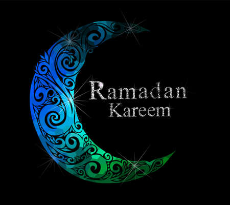 Floral design decorated crescent moon on blue background for holy month of Muslim community Ramadan Kareem Imagens - 155392777