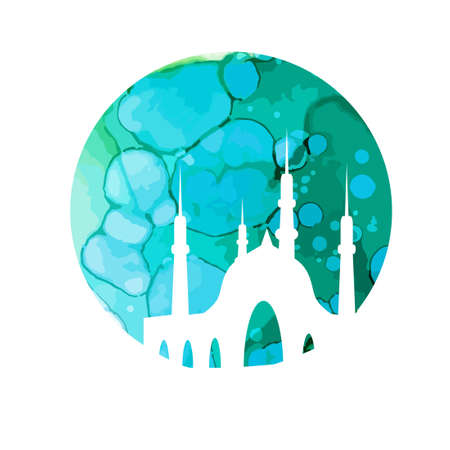 Mosque in the background of the round moon. Vector illustration