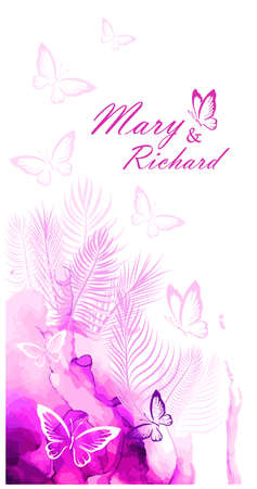 Wedding card with pink butterflies. Vector 向量圖像