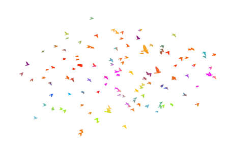 Bird watercolor. A flock of colorful birds. Vector Vector Illustration