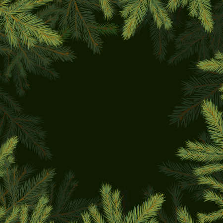 Square frame of spruce twigs. Vector illustration Vektorgrafik