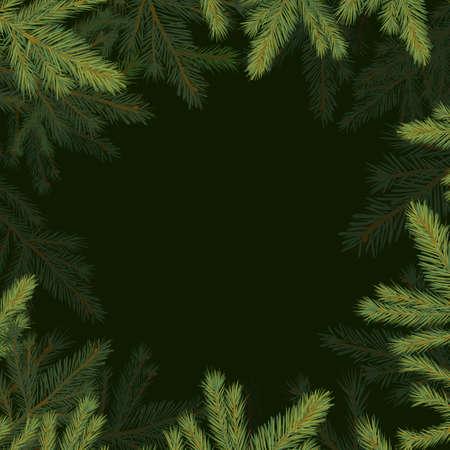 Square frame of spruce twigs. Vector illustration Vektorové ilustrace