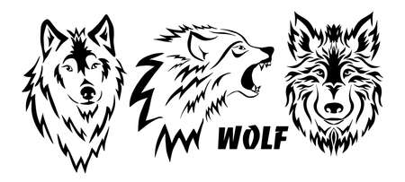 The wolf is beautiful with curls. Tattoo. Vector illustration Vetores