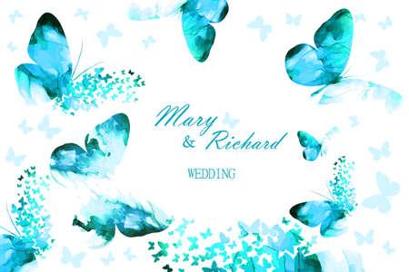 Wedding card with blue butterflies. Vector