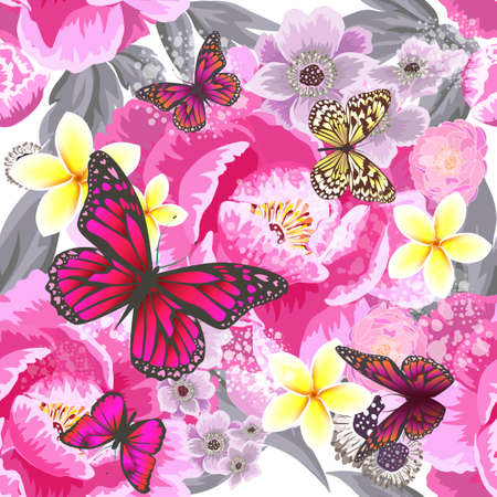 A seamless background with beautiful pink and blue flowers. Vector illustration