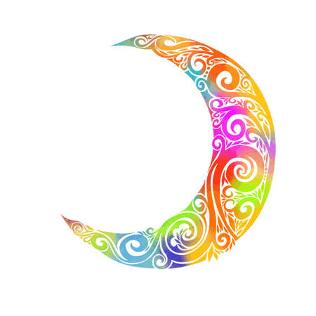 Floral design decorated crescent moon on blue background for holy month of Muslim community Ramadan Kareem Imagens - 155395773