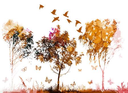 Autumn abstract yellow tree. Vector illustration Vettoriali