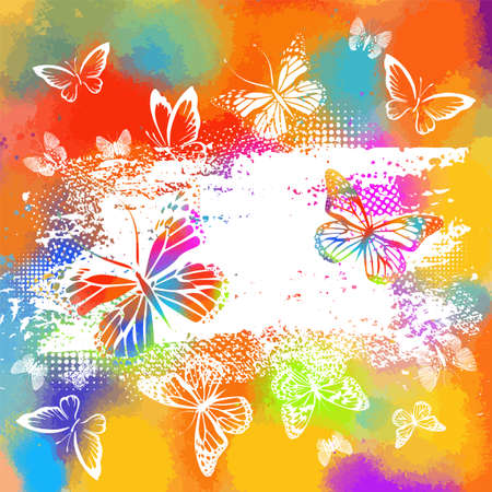 Silhouettes of white butterflies on a watercolor picturesque background. Vector illustration 免版税图像
