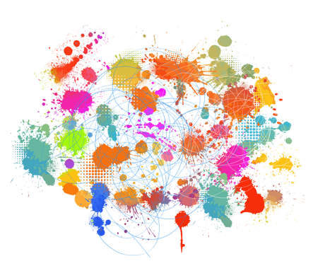 Multi-colored spots of paint on a white background. Mixed media. Vector illustration.