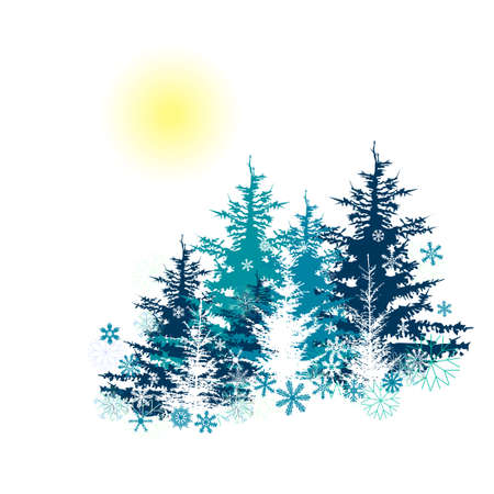 Merry Christmas. Winter forest. Vector illustration