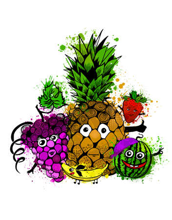 A vector illustration of a set of fruits characters