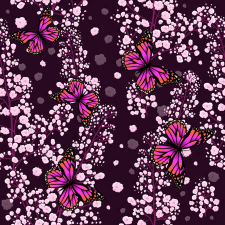 The seamless background is small pink flowers. Vector illustration