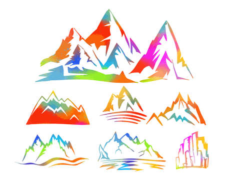 Colorful mountains. Vector illustration  イラスト・ベクター素材