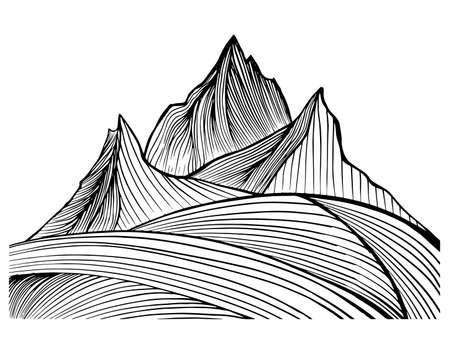 The rocky terrain. Mountains. Mountain slope in snow. Pattern. Vector illustration.