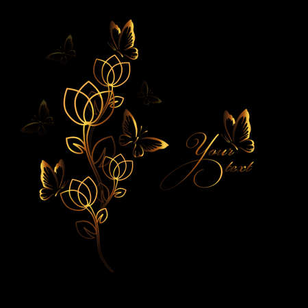 a vector illustration in eps 10 format of a metallic golden tulip design with a stylized flower and blue and gold type on a white background 向量圖像